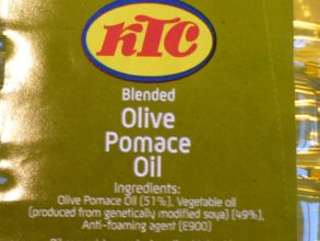 Side of packet of KTC blended olive pomace oil