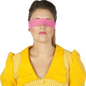Blindfolded woman for 'Feed me the truth' campaign