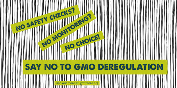 No safety checks? No monitoring? No choice! Say No to GMO deregulation